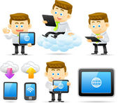 Business man with cloud network