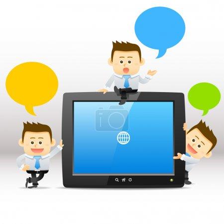 Illustration pour Homme d'affaires, Tablette PC, concept de communication . - image libre de droit
