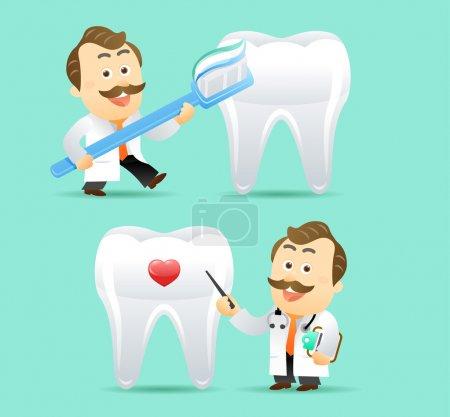 Illustration pour Médecin et dents, illustration médicale - image libre de droit