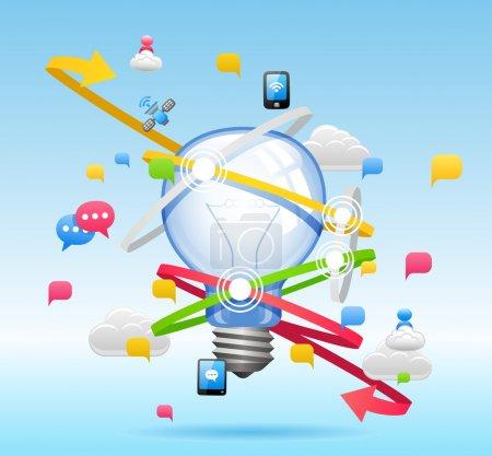 Illustration for Light bulb ,Cloud computing,communication Concept - Royalty Free Image