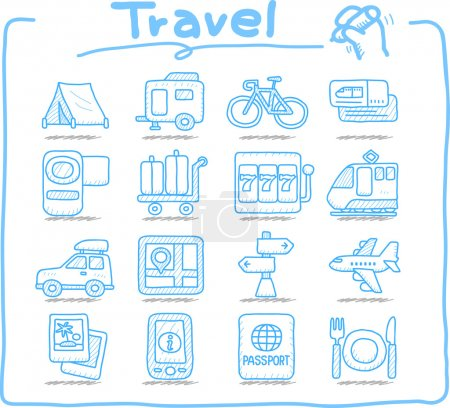 Illustration for Hand drawn vacation, Travel icons set - Royalty Free Image