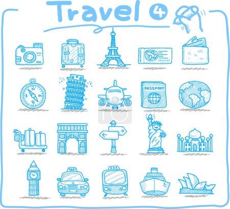 Illustration pour Icônes de voyage dessinées à la main, vacances, voyage - image libre de droit