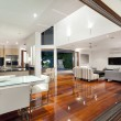 Luxurious home interior with large sliding doors...