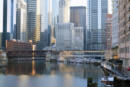Photo for Chicago Downtown Skyline At Dusk - Royalty Free Image