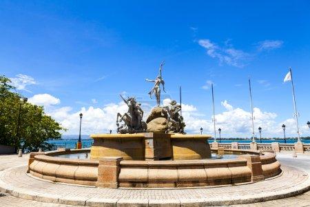"""Fountain """"Paseo de la Princesa"""" in old San Juan, Puerto Rico."""