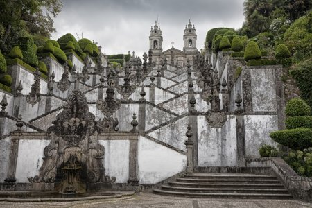 Photo for Bom Jesus Braga, Portugal was designed by Carlos Amarante. Building was begun in 1722 under the archbishop of Braga. The stairway pays homage to the five senses and the three virtues. - Royalty Free Image
