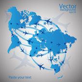Vector illustration night travel world map
