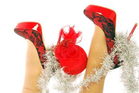 Photo pour Joyeux Noël Mode 205 Chaussures élégantes et sexy pour un Joyeux Noël - image libre de droit