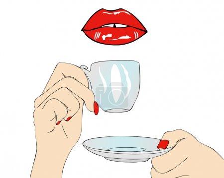 Illustration pour Un bon matin prendre un café dans la bouche - image libre de droit