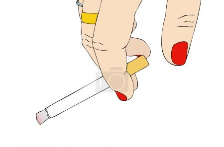 Illustration for Female hand with cigarette - Royalty Free Image