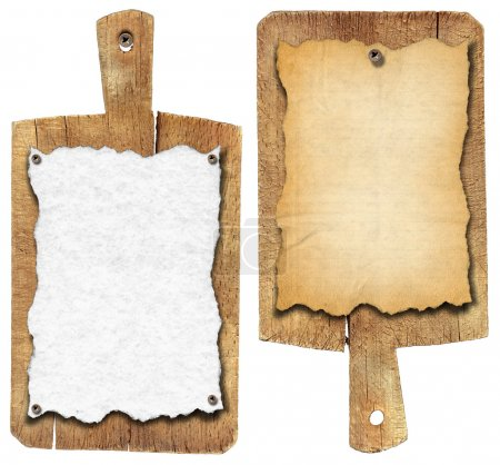 Photo for Two notebooks for recipes or menu on used wooden cutting boards - Royalty Free Image