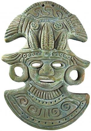 Photo pour Masque aztèque en argile Maya peint (vert) Maize God - Artisanat mexicain - image libre de droit