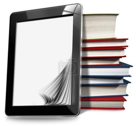 Photo pour Tablette noire avec pages blanches et pile de livres sur fond blanc - image libre de droit