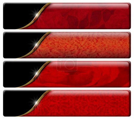 Photo for Set of four luxury banners or headers with red floral texture and clipping pat - Royalty Free Image