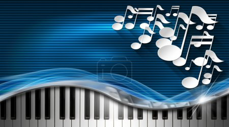 Photo for White musical notes and piano keyboard on blue and black corrugated background - business card music - Royalty Free Image