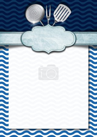 Photo for Blue and white background with stylized waves, kitchen utensils and empty label, template for recipes or a sea menu - Royalty Free Image
