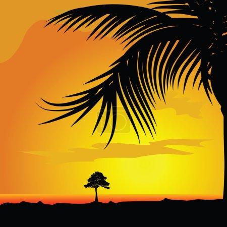 Illustration pour Palmier et arbre dans le fond vectoriel illustration insérer - image libre de droit