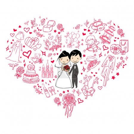 Illustration for Lovely wedding invitation - Royalty Free Image