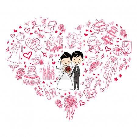 Illustration pour Belle invitation de mariage - image libre de droit
