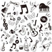 Hand drawndoodle music icon set
