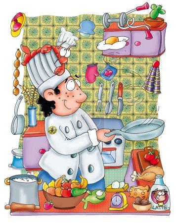 Photo pour Chef at work Pots, fruit, egg, milk, chicken, lobster Chef at work, pots, fruit, egg, chef's hat, milk, chicken, lobster, art, cooking, restaurant, - image libre de droit