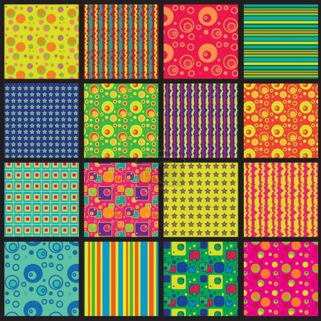 Illustration for Vector illustration. Sixteen variations of geometric abstract pattern - Royalty Free Image