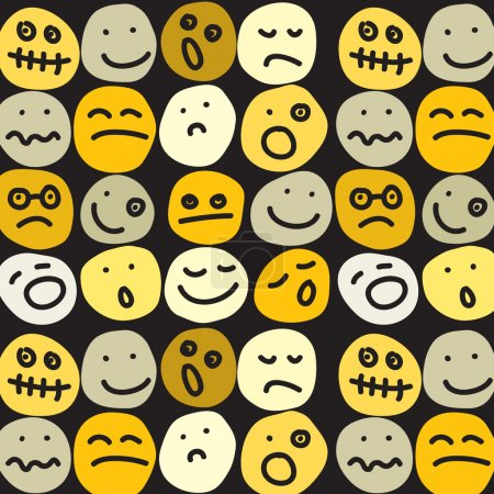 Illustration for Seamless pattern of smiles emoticons - Royalty Free Image