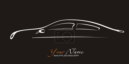 Illustration for Car. Silhouette of the old car on a black background. Vector art in EPS format. - Royalty Free Image