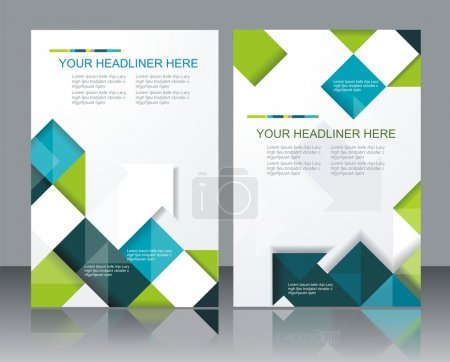 Illustration for Vector brochure template design with cubes and arrows elements. - Royalty Free Image