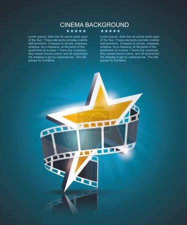 rouleau de bande de film avec étoile d'or. vecteur cinéma fond