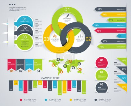 Illustration for Time Line design template with diagram set. Idea to Display information, Steps for industrial factory, Ranking and statistics. - Royalty Free Image
