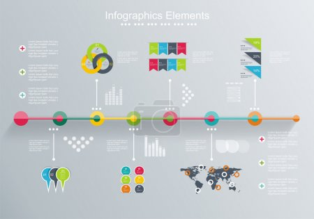 Time Line design template with diagram set.