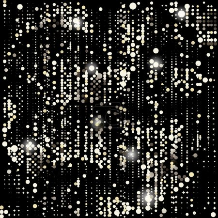 Vector Gold background, disco lights frame.