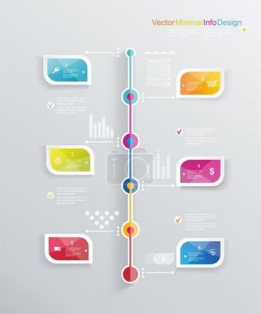 Illustration pour Modèle de conception de ligne temps avec des étiquettes de papier. idée pour afficher les informations, étapes pour usine industrielle, classement et statistiques. - image libre de droit
