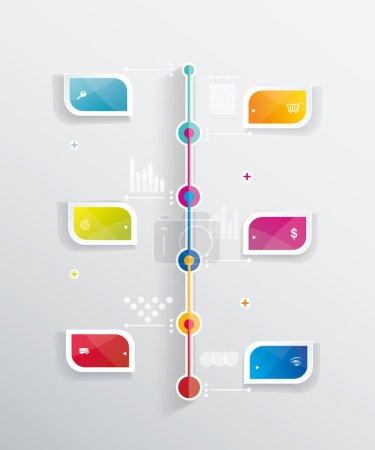 Illustration pour Modèle de conception Time Line avec étiquettes en papier. Idée pour afficher des informations, Étapes pour l'usine industrielle, Classement et statistiques . - image libre de droit
