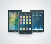 Bianco smartphone con nuvola di icone di applicazione