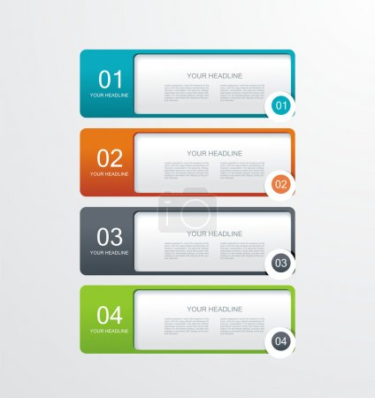 Illustration for Vector paper tags, labels, banners in the pockets, - one two three four steps - Royalty Free Image