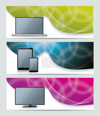 Collection banner design with smart phone, tablet pc, laptop and