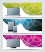 Collection banner design with smart phone tablet pc laptop and