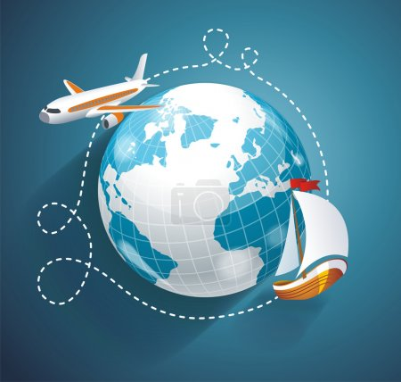 Illustration for Vector illustration of a world globe, an airplane and yacht. Cruise or logistic symbol - Royalty Free Image