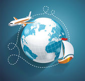 Vector illustration of a world globe an airplane and yacht