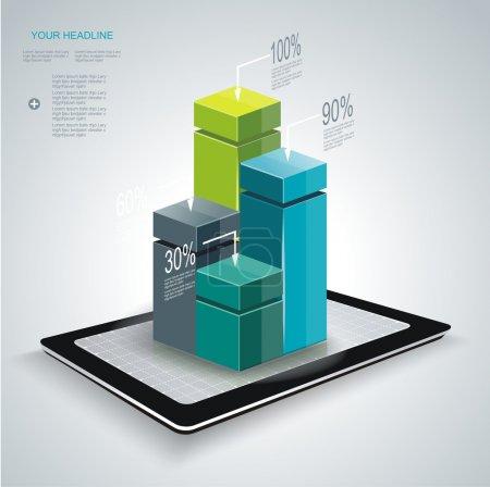 Illustration pour Modèle infographique de style minimal ewith Tablet PC. Peut être utilisé pour le diagramme, les bannières numérotées, les colonnes en pourcentage . - image libre de droit