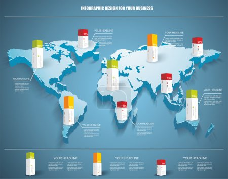 3d vector world map illustration with modern elements of info gr