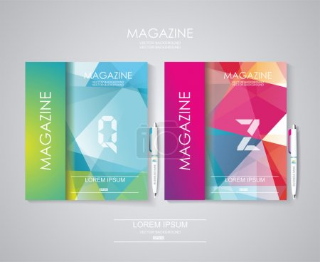 Illustration for Magazine cover set with pattern of geometric shapes, texture with flow of spectrum effect. - Royalty Free Image