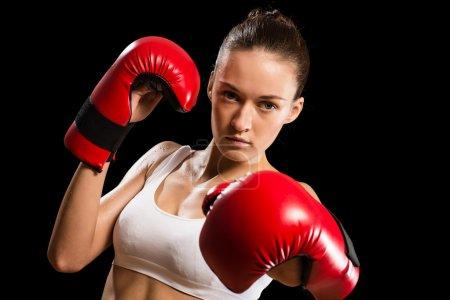 portrait of a woman boxer