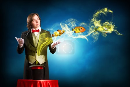 Magician casts a spell over the cylinder, circling...
