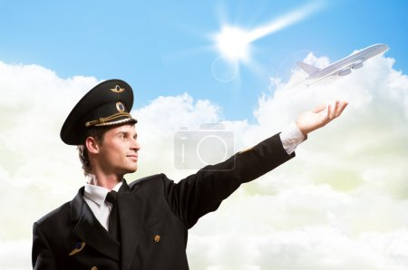 Pilot in the form of extending a hand to airplane