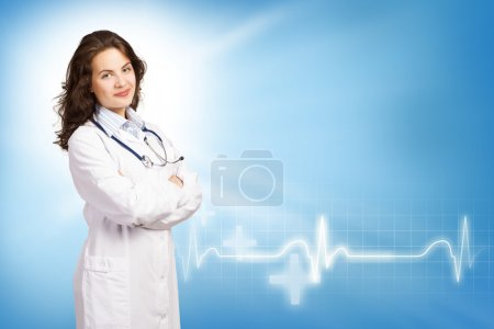 Photo pour Jeune femme médecin mettre ses mains sur sa poitrine, sur le fond médical abstrait - image libre de droit