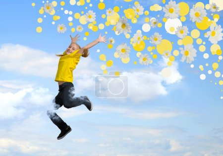 Photo for Girl jumping on a background of blue sky and flowers - Royalty Free Image