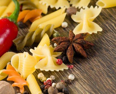 close-up of anise, around the pasta